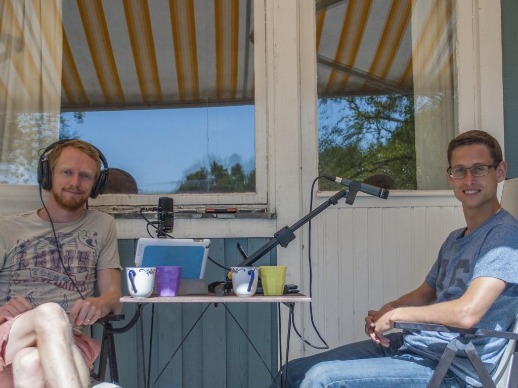 Marcus och Per spelar in Solcellspodden avsnitt 16